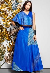 blue-pleated-top-maxi-skirt