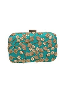 green-embroidered-box-clutch