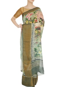 green-digital-printed-handloom-matka-silk-saree-with-unstitched-blouse