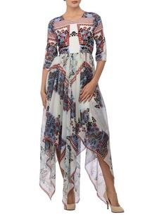 white-blue-printed-dress