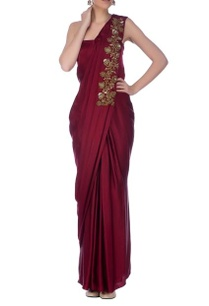 wine-golden-embroidered-sari-gown