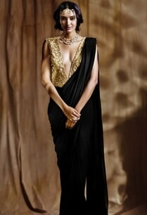 black-sari-gown-with-beige-embroidered-blouse