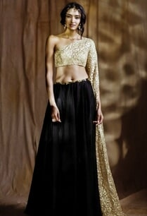 beige-embroidered-one-sleeved-blouse-with-lehenga
