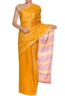 yellow-purple-lotus-pattern-handwoven-sari