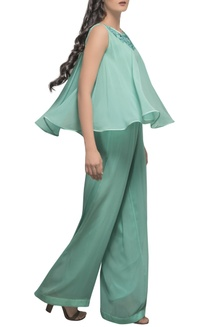 7b9c478fc70 Buy Mint green hand embroidered jumpsuit by Sadan Pande at Aza Fashions
