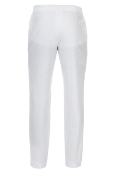 White tailored slim fit trousers