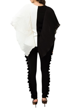Color block Top With Pleated Side Drape