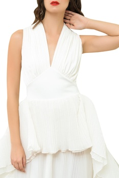 Gown With Drapes & Frill Hem
