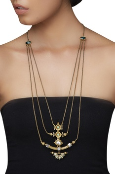 Floral baroque layered necklace