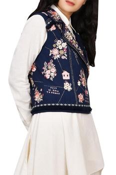 Floral Embroidered Biker Jacket