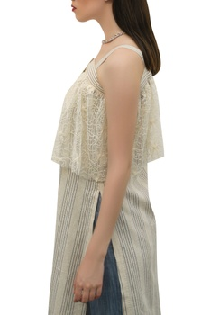 Embroidered cape style top