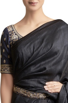 Sari with Metallic Embroidered Belt & blouse