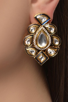 Stone embedded drop earrings