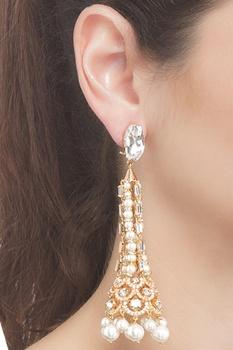Stone embedded pyra drop earrings
