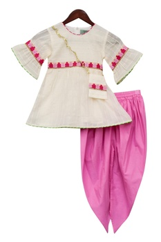 Flower Embroidered Kurta Dhoti Set