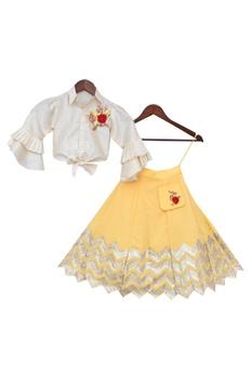 Shirt Blouse With Gota Embroidered Lehenga
