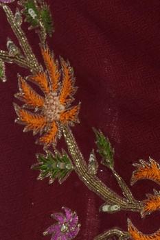 Floral resham embroidered shawl