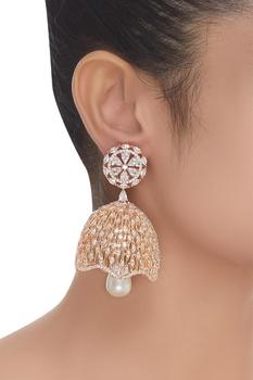 Stone studded jhumka style earrings
