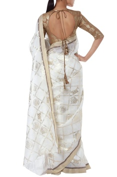 Floral foil printed sari with unstitched blouse