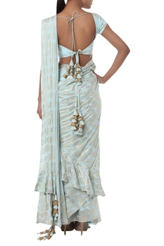 Pleated ruffle sari with unstitched blouse