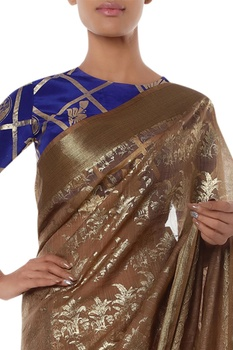 Foil printed sari with unstitched blouse