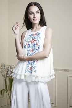 White double layer ruffle top