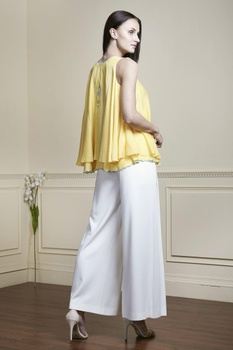 Yellow thread embroidered sleeveless top