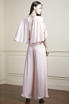 Powder pink embroidered jumpsuit