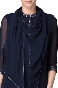 Navy blue kurta with pants & dupatta