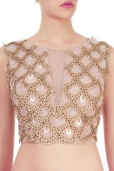 Beige cutwork blouse