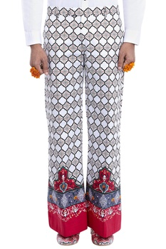 White trousers with multi-colored print