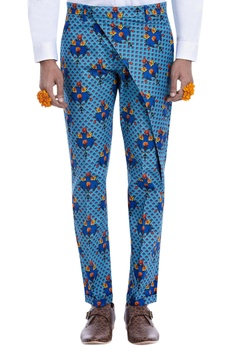 Blue printed trousers with flap