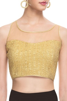 Gold blouse with illusion neckline