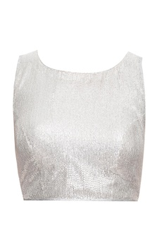 Silver blouse with keyhole back