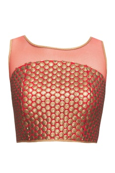 Red blouse with sequins & beads