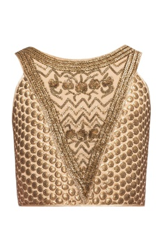 Beige blouse with sequins & beads