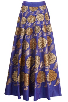 Blue skirt with floral motif