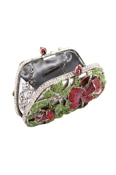 Silver clutch with floral pattern