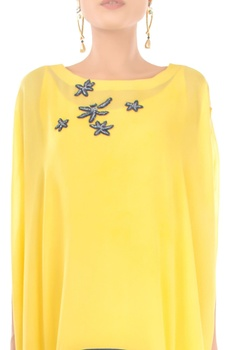 Lilac yellow embroidered cape