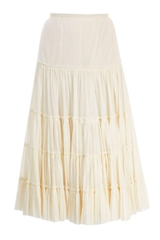 Ivory flared & tiered skirt