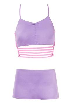 Purple strappy bikini top with boyshorts
