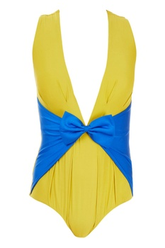 Yellow & blue one-piece swimsuit