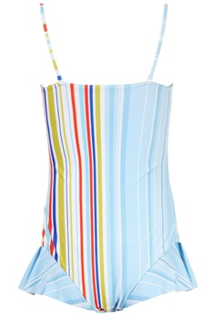 Multi coloured striped one-piece