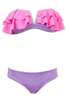 Purple & grey bikini set with frills