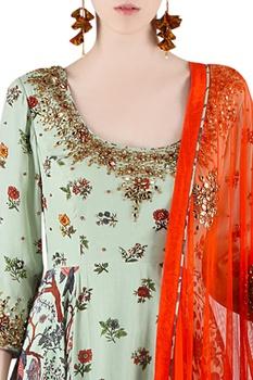 Sage green printed kurta set with orange dupatta