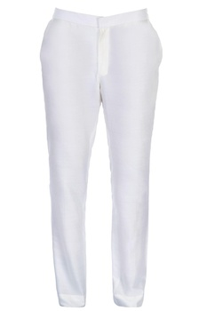 White straight fit trousers