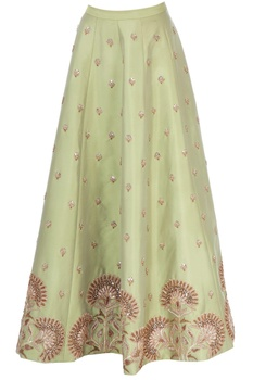 Pista green skirt with zardozi embroidery