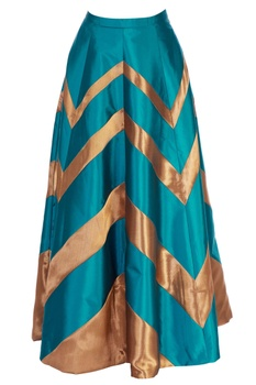 Teal  blue skirt with chevron pattern