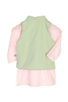 Pastel pink kurta with jacket & dhoti