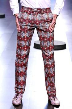 Multi-colored printed trousers